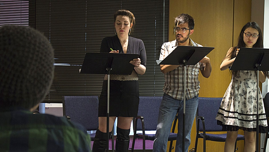 Rehearsal for a reading of DR. LOVELY, Photo by Alyssa Hitchcock
