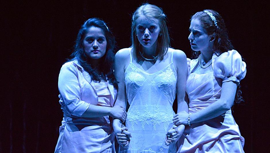 Maritza Pineda, Caitlin Rose Edwards, and Sarah Gilbert played Iphigenia