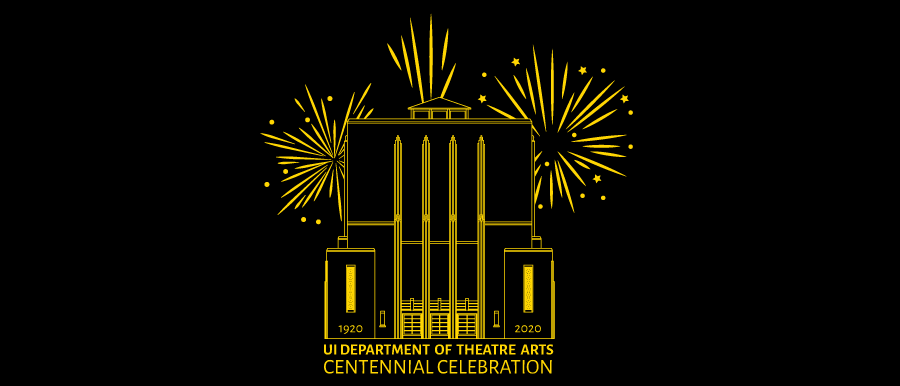 Theatre Arts Centennial Graphic. E.C. Mabie Theatre outline with fireworks.