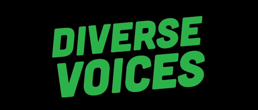 Diverse Voices text in green over black background.