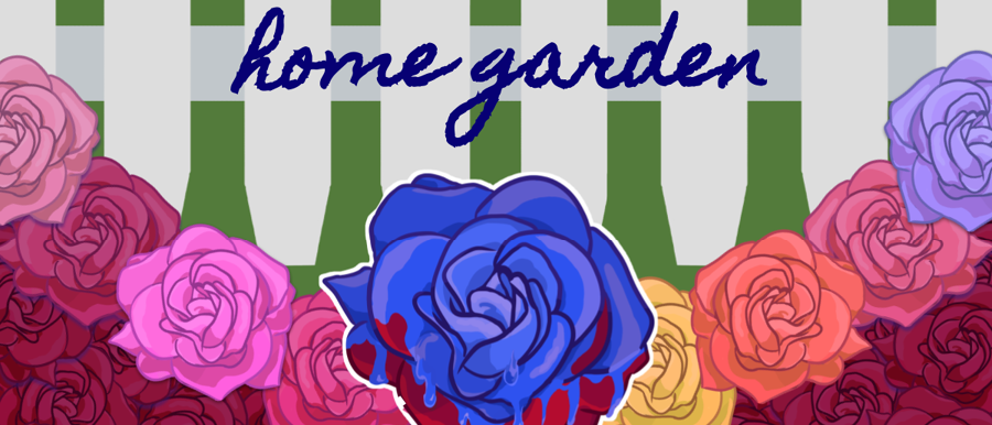 Home Garden poster image with multi colored flowers over a green checked background.