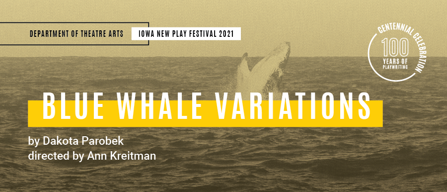 Blue Whale Variations. By Dakota Parobek. Directed by Ann Kreitman. Photo of whale jumping out of water.