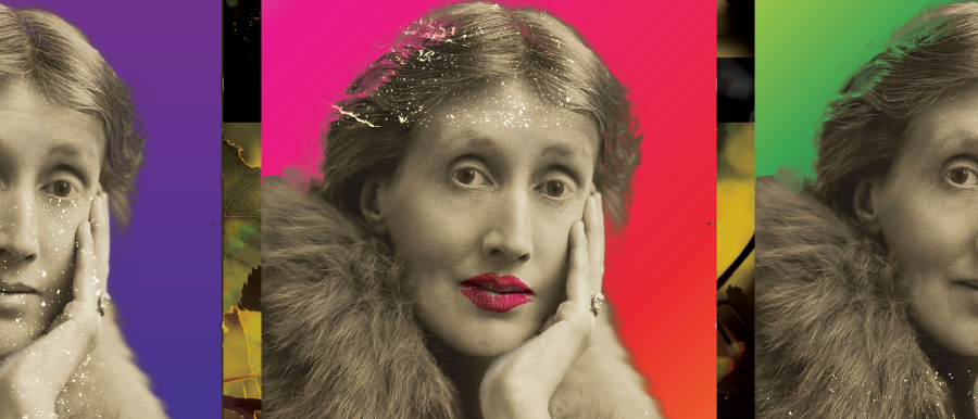 Orlando poster image. Three photos of Virginia Woolf with varying rainbow backgrounds.