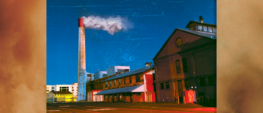 Sweat poster image. Old factory with large white smokestack.