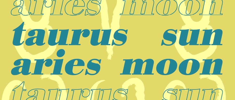 Taurus Sun-Aries Moon, text repeated on yellow background.